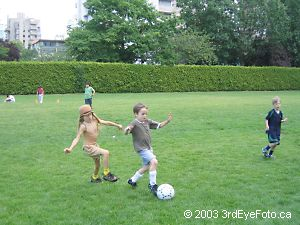 Kaelin playing soccer