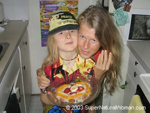 Katherine and Kaelin with cake